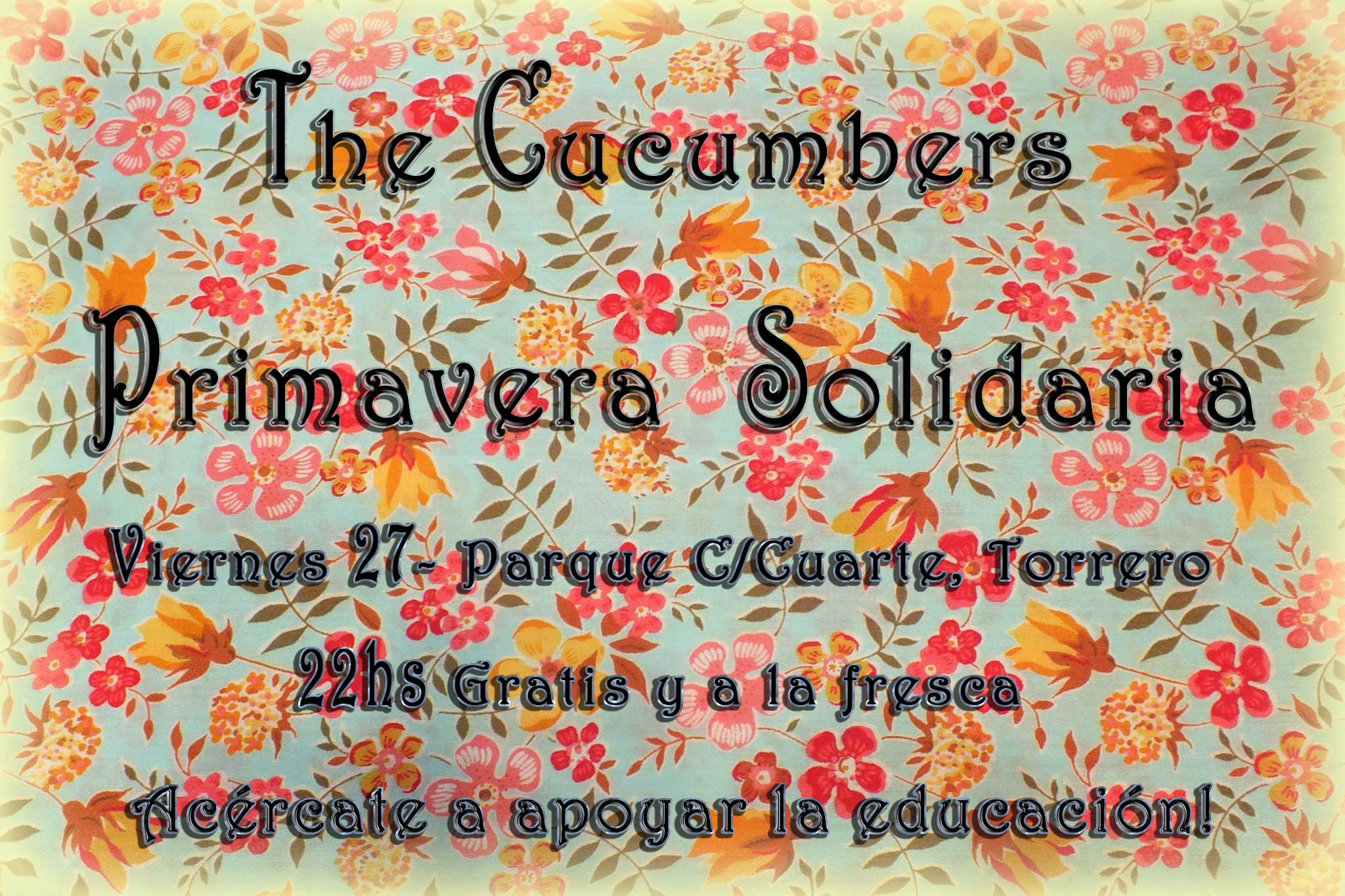 27 de mayo (viernes) Primavera Solidaria, gratis y a la fresca – Parque C/Cuarte Torrero – 22hs