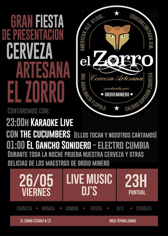 Karaoke Live! with «The Cucumbers» + Presentación Cerveza Artesana «El Zorro» 23hs Puntual -Libre y gratis- El Zorro Pub