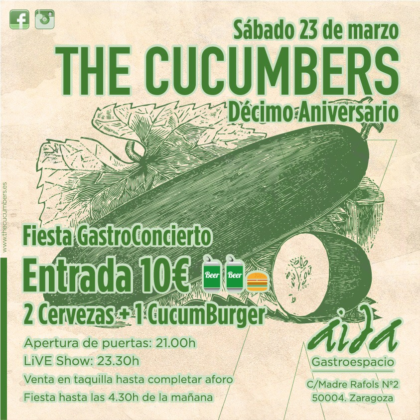 ¡Que diez años son nada! ¡Ven a celebrarlos con The Cucumbers!